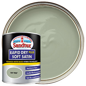 Sandtex Rapid Dry Plus Soft Satin Paint - Bay Tree 750ml