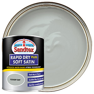 Sandtex Rapid Dry Plus Soft Satin Paint - Cloudy Day 750ml
