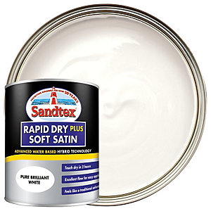 Sandtex Rapid Dry Plus Soft Satin Paint - Pure Brilliant White 750ml