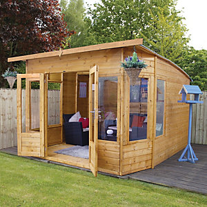 Mercia 10 x 10 ft Large Contemporary Curved Roof Summerhouse with Double Doors