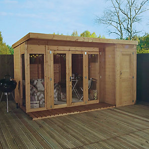 Mercia 12 x 8 ft Large Garden Room with Side Shed & Bi-Fold Doors