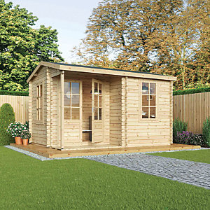 Mercia 4m x 3m 28mm Log Thickness Single Glazed Home Office