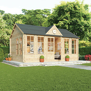 Mercia 4m x 5.5m 44mm Log Thickness Double Glazed Pool House