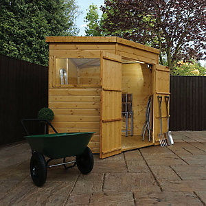 Mercia 7 x 7 ft Timber Shiplap Pent Corner Shed
