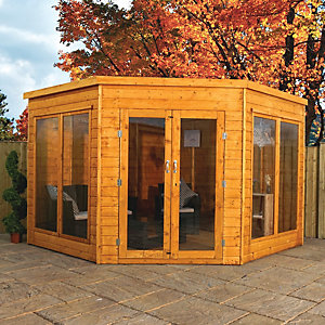 Mercia 9 x 9 ft Large Corner Summerhouse with Double Doors