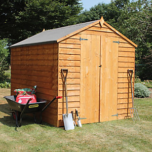 Mercia Double Door Windowless Timber Overlap Apex Shed - 8 x 6 ft
