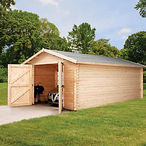 Mercia Large Wooden Log Garage - 14 x 19 ft