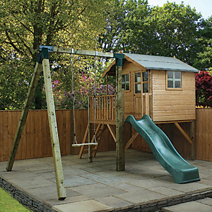 Mercia Poppy Raised Timber Playhouse with Swing & Slide - 12 x 13 ft