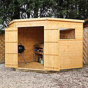 Mercia Timber Shiplap Pent Corner Shed - 9 x 9 ft Best Price, Cheapest Prices