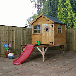 Mercia Timber Snug Playhouse with Tower & Slide - 10 x 5 ft