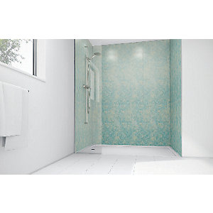 Mermaid Blue Reef Gloss Laminate Single Shower Panel