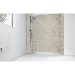 Mermaid Grey Calacatta Laminate 3 Sided Shower Panel Kit