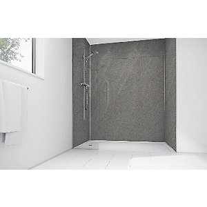 Mermaid Lunar Grey Laminate 3 Sided Shower Panel Kit