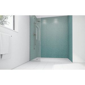Mermaid Peppermint Frost Gloss Laminate 3 Sided Shower Panel Kit