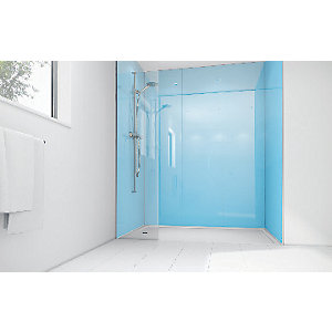 Mermaid Sky Blue Acrylic 3 sided Shower Panel Kit