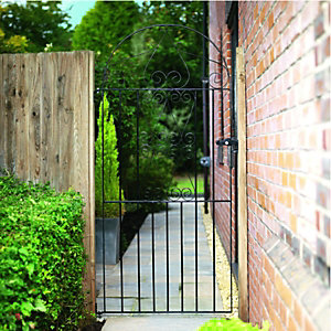 Wickes Chelsea Bow Top Steel Gate Black - 914 x 1830 mm