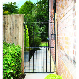 Wickes Chelsea Bow Top Steel Gate Black - 991 x 1875 mm