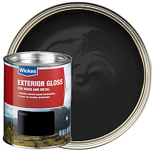 Wickes Exterior Gloss Paint - Black 750ml