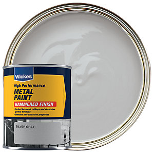 Wickes Metal Paint Hammered Finish Silver Grey 750ml