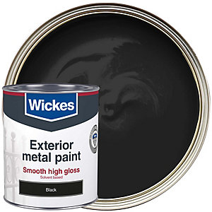 Wickes Metal Paint High Gloss Finish Black 750ml