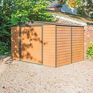 Rowlinson 10 x 8 ft Woodvale Large Double Door Metal Apex Shed without Floor