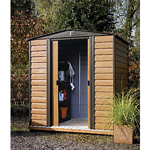 Rowlinson 6 x 5 ft Woodvale Double Door Metal Apex Shed including Floor