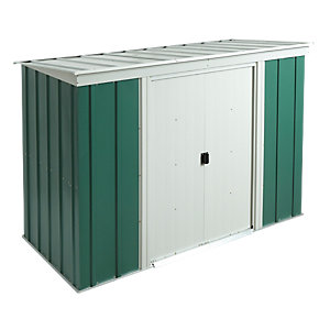 Rowlinson 8 x 4 ft Double Door Metal Pent Shed including Floor