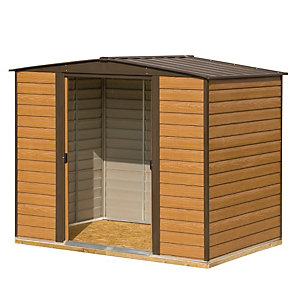 Rowlinson 8 x 6 ft Woodvale Double Door Metal Apex Shed including Floor