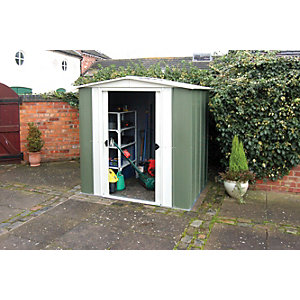 Rowlinson Double Door Metal Apex Shed without Floor - 6 x 5 ft