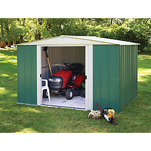 Rowlinson Large Metal Double Door Apex Shed without Floor - 10 x 8 ft