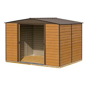 Rowlinson Woodvale Large Double Door Metal Apex Shed including Floor - 10 x 12 ft