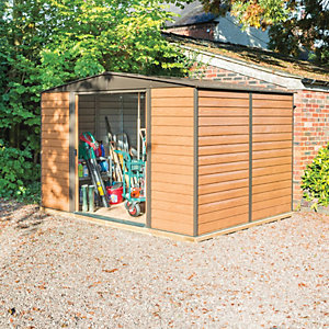 Rowlinson Woodvale Large Double Door Metal Apex Shed including Floor - 10 x 8 ft