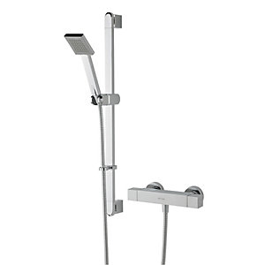 Bristan Quadrato Thermostatic Bar Mixer Shower Valve & Adjustable Riser Kit - Chrome