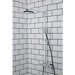 Bristan Quadrato Thermostatic Fixed Head Bar Shower Mixer with Diverter & Kit
