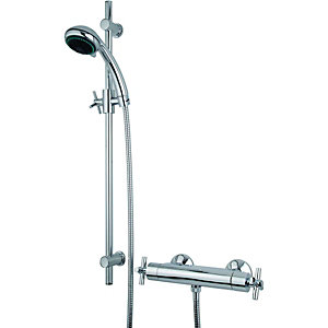 Wickes Anvil Thermostatic Mixer Shower & Adjustable Riser Kit - Chrome