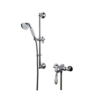 Wickes Classic Manual Thermostatic Mixer Shower & Adjustable Riser Kit - Chrome and White