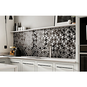 House of Mosaics Gunmetal Luxe Mosaic Tile Sheet - 300 x 300 mm