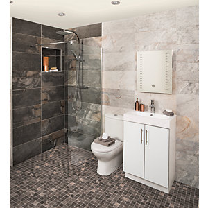 Wickes Aspen Carbon Grey Mosaic Porcelain Tile - 300 x 300mm Pack of 6
