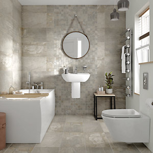 Wickes Aspen Silver Grey Mosaic Porcelain Tile - 300 x 300mm Pack of 6