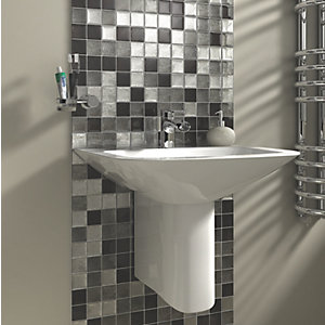 Wickes Black & Silver Leaf Glass Mosaic - 300 x 300mm