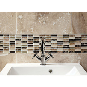 Wickes Emperador Marble & Glass Mosaic Tile - 305 x 305mm
