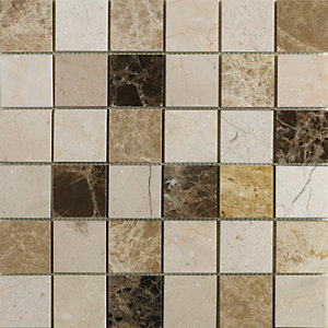Wickes Emperador Marble Mix Mosaic Tile - 300 x 300mm