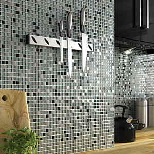 Wickes Glitter Black White Gl Mix Mosaic Tile 330 X 308mm Co Uk
