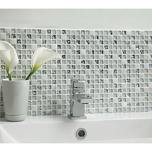 Wickes Ice Glass & Stone Mosaic Tile - 300 x 300mm