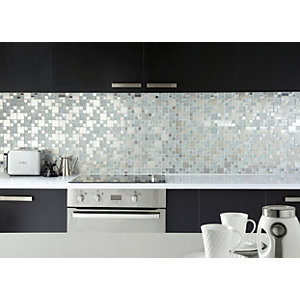 Wickes Lunar Glass & Metal Modular Mosaic - 300 x 300mm
