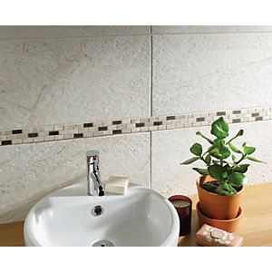 Wickes Silver Polished Marble Brick Mosaic - 305 x 305mm