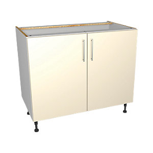 Wickes Orlando Cream Gloss Slab Base Unit - 1000mm