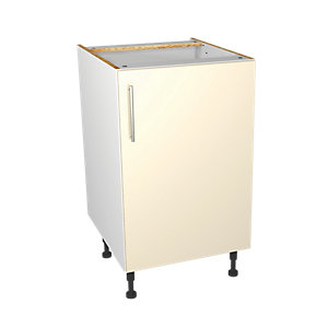 Wickes Orlando Cream Gloss Slab Base Unit - 500mm