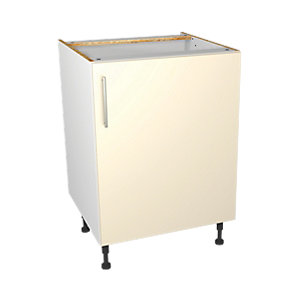 Wickes Orlando Cream Gloss Slab Base Unit - 600mm