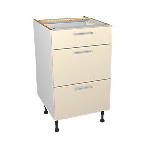 Wickes Orlando Cream Gloss Slab Drawer Unit - 500mm